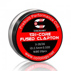 Pack 10 coils Tri-Core Fused Clapton Coilology - 0.32 ohm